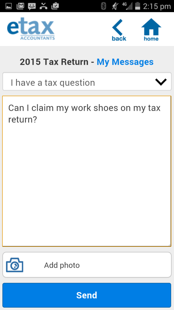 etax app lets you send messages to your accountant